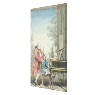 Leopold Mozart  and his Children Wolfgang Canvas Print