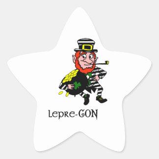 Lepre-con Leprechaun Stealing Pot of Gold Stickers
