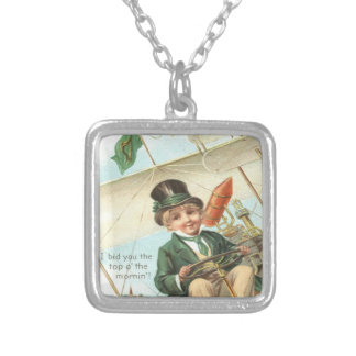 Leprechaun Airplane Harp of Erin Silver Plated Necklace