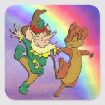 Leprechaun and Mouse Dancing with Rainbow Square Sticker