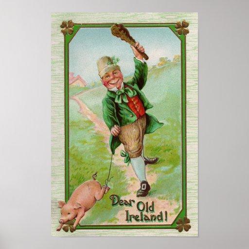 Leprechaun and Pig Print
