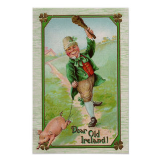 Leprechaun and Pig St Patrick's Day Poster
