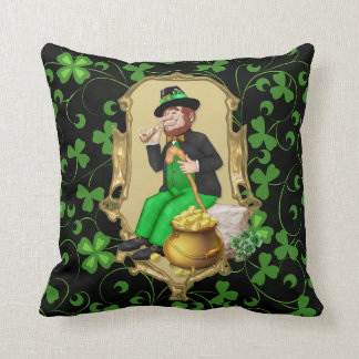 Leprechaun and Shamrocks Cushion