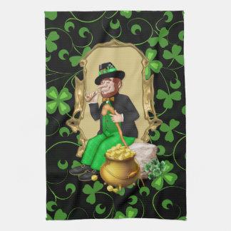 Leprechaun and Shamrocks Kitchen Towels