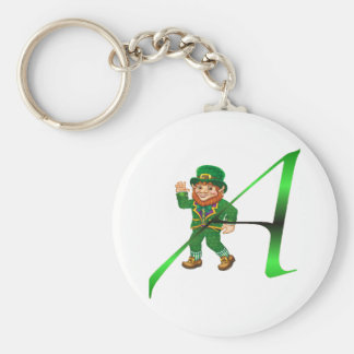 """Leprechaun Atheist """"A"""" apparel and gifts Basic Round Button Key Ring"""