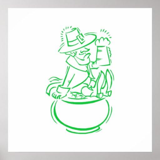 Leprechaun Beer & Pot of Godl Posters