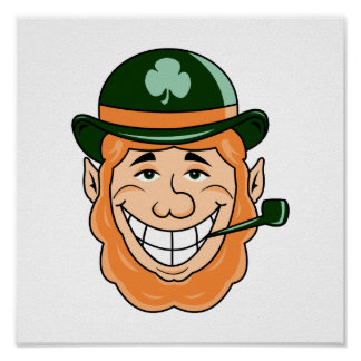 leprechaun bowler hat green pipe head smiling.png posters