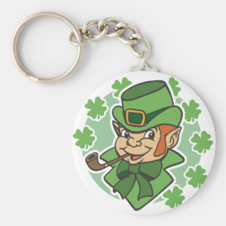 Leprechaun Cartoon St. Patrick's Day Basic Round Button Key Ring