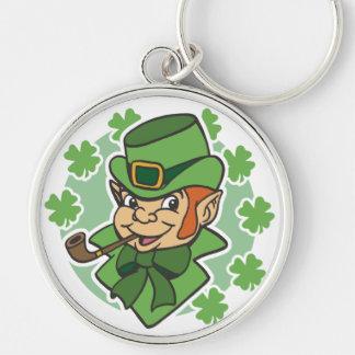 Leprechaun Cartoon St. Patrick's Day Silver-Colored Round Key Ring