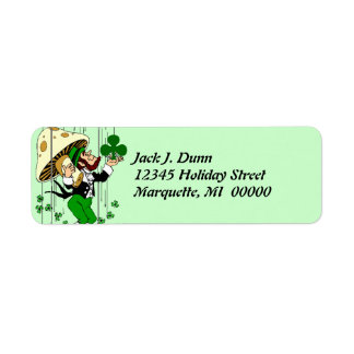 Leprechaun Catching Shamrocks Return address Label