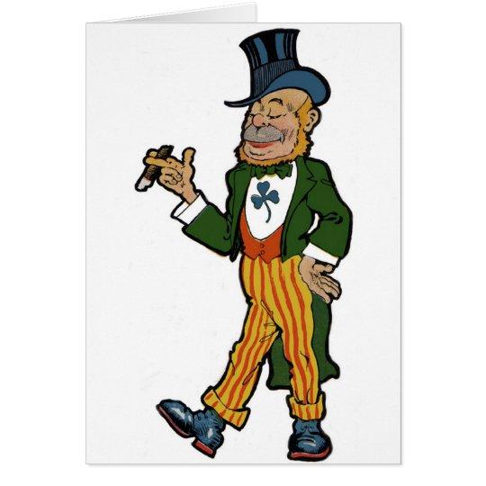 Leprechaun, Cigar, Top Hat Vintage St. Patrick's Card
