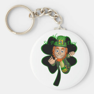 leprechaun.clover basic round button key ring