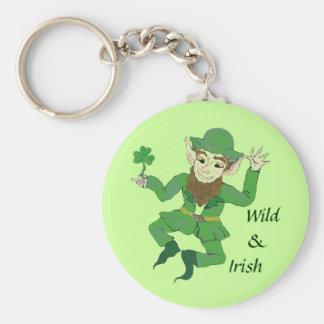 leprechaun dance basic round button key ring