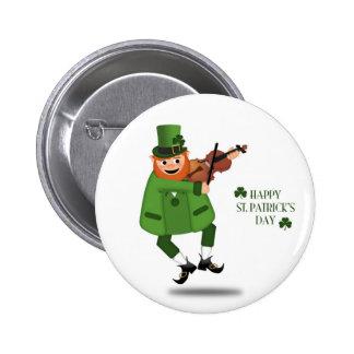 Leprechaun Fiddling Button