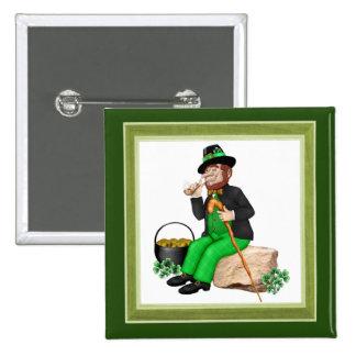 Leprechaun Gold 15 Cm Square Badge