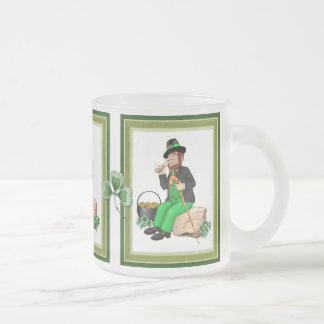 Leprechaun Gold Frosted Glass Coffee Mug