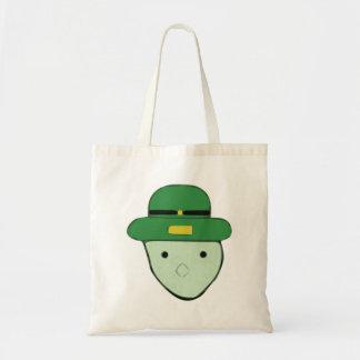 Leprechaun Green Colored Sketch Meme Tote Bags