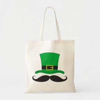 Leprechaun hat funny mustache St Patrick's day Canvas Bags