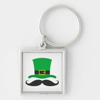 Leprechaun hat funny mustache St Patrick's day Silver-Colored Square Key Ring