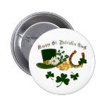 Leprechaun Hat Gold Horseshoe - St Patrick's 6 Cm Round Badge
