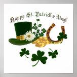 Leprechaun Hat Gold Horseshoe - St Patrick's Poster