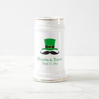 Leprechaun hat mustache St Patrick's day wedding Beer Steins