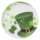 Leprechaun hats with 4 leaf clovers plate