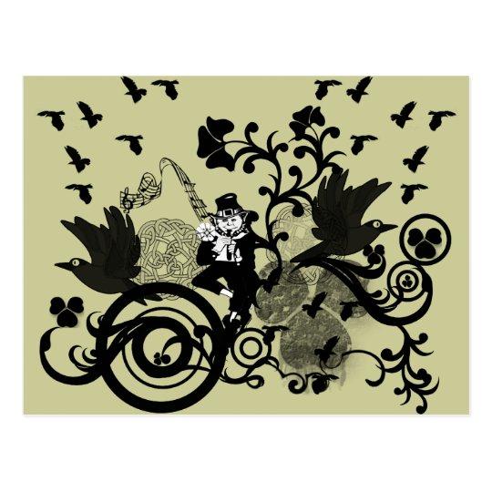 Leprechaun in Black Postcard
