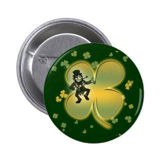 Leprechaun irish luck shamrocks buttons