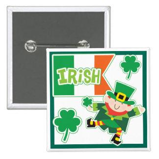 Leprechaun Jig Irish Party 15 Cm Square Badge