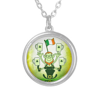 Leprechaun Juggling Beers and Irish Flag Personalized Necklace
