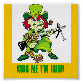 leprechaun KISS ME I M IRISH Print