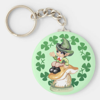 Leprechaun on a Mushroom Basic Round Button Key Ring