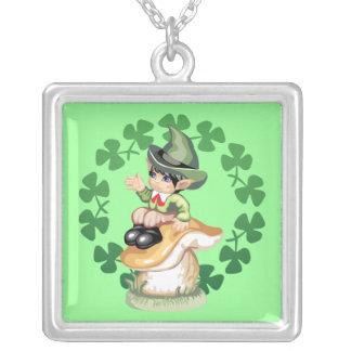 Leprechaun on a Mushroom Silver Plated Necklace