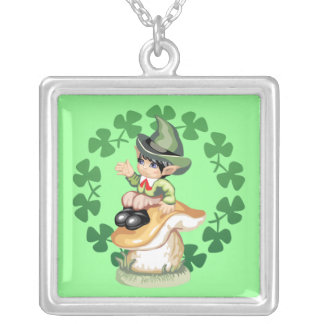 Leprechaun on a Mushroom Square Pendant Necklace