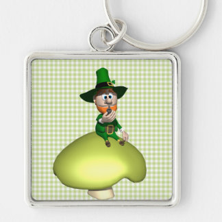 Leprechaun On Toadstool Silver-Colored Square Key Ring