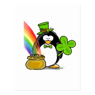 Leprechaun Penguin Postcard