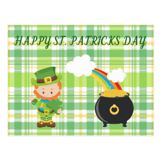 Leprechaun & Pot of Gold. Postcard