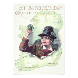 Leprechaun Shamrock Ireland Island 13 Cm X 18 Cm Invitation Card