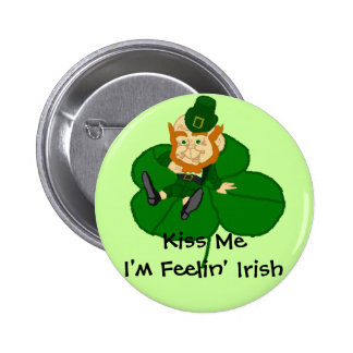 Leprechaun Shamrock - Kiss Me I'm Feelin Irish Pin