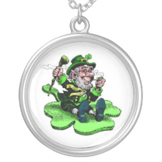 leprechaun silver plated necklace