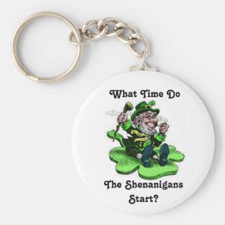 Leprechaun Sitting On A Shamrock Basic Round Button Key Ring