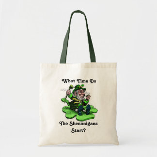Leprechaun Sitting On A Shamrock Budget Tote Bag