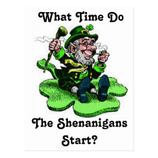 Leprechaun Sitting On A Shamrock Postcard