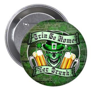 Leprechaun Skull 3: Erin Go Home Yer Drunk 7.5 Cm Round Badge