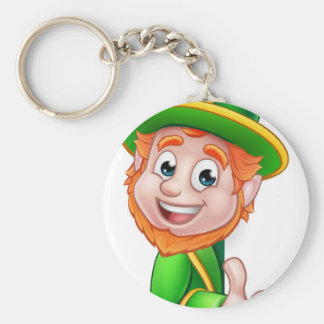 Leprechaun St Patricks Day Cartoon Mascot Basic Round Button Key Ring