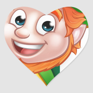 Leprechaun St Patricks Day Cartoon Mascot Heart Sticker