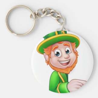 Leprechaun St Patricks Day Cartoon Mascot Pointing Basic Round Button Key Ring