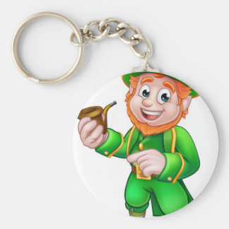 Leprechaun St Patricks Day Illustration Basic Round Button Key Ring