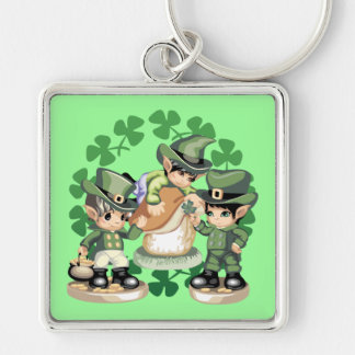 Leprechaun Trio Silver-Colored Square Key Ring